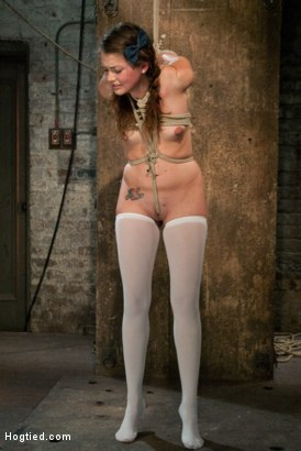 Photo number 9 from Thigh Highs and Cotton Panties<br>We're going to Hell shot for Hogtied on Kink.com. Featuring Allie Haze in hardcore BDSM & Fetish porn.
