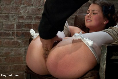 Photo number 5 from Our Little Pig Tailed Cutey is Tied Like a Slut<br> Caned and Finger Fucked Till she Squirts!  shot for Hogtied on Kink.com. Featuring Allie Haze in hardcore BDSM & Fetish porn.