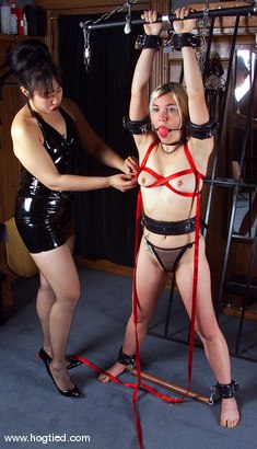 Photo number 2 from Mistress Kira Veritas and Eve shot for Hogtied on Kink.com. Featuring Mistress Kira Veritas and Eve in hardcore BDSM & Fetish porn.