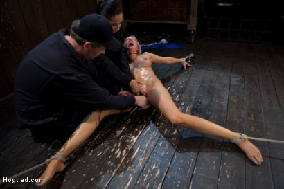 Photo number 5 from The total destruction of RAIN continues. She is mindless, her body keeps cumming<br>YAM RA!! shot for Hogtied on Kink.com. Featuring Rain DeGrey and Isis Love in hardcore BDSM & Fetish porn.