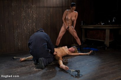 Photo number 9 from The total destruction of RAIN continues. She is mindless, her body keeps cumming   YAM RA!! shot for Hogtied on Kink.com. Featuring Rain DeGrey and Isis Love in hardcore BDSM & Fetish porn.