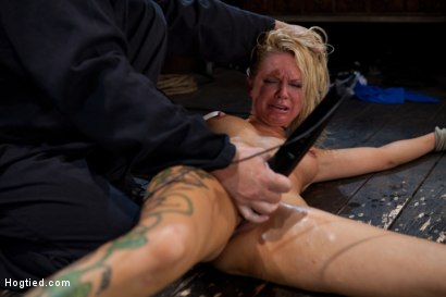 Photo number 1 from The total destruction of RAIN continues. She is mindless, her body keeps cumming<br>YAM RA!! shot for Hogtied on Kink.com. Featuring Rain DeGrey and Isis Love in hardcore BDSM & Fetish porn.
