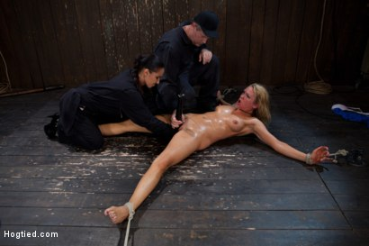 Photo number 14 from The total destruction of RAIN continues. She is mindless, her body keeps cumming<br>YAM RA!! shot for Hogtied on Kink.com. Featuring Rain DeGrey and Isis Love in hardcore BDSM & Fetish porn.