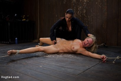 Photo number 6 from The total destruction of RAIN continues. She is mindless, her body keeps cumming<br>YAM RA!! shot for Hogtied on Kink.com. Featuring Rain DeGrey and Isis Love in hardcore BDSM & Fetish porn.