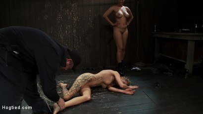 Photo number 11 from Rain somehow makes it the entire hour. She suffers her final orgasm of the day  Aftercare is next shot for hogtied on Kink.com. Featuring Rain DeGrey and Isis Love in hardcore BDSM & Fetish porn.