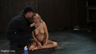 Photo number 13 from Rain somehow makes it the entire hour. She suffers her final orgasm of the day<br>Aftercare is next shot for Hogtied on Kink.com. Featuring Rain DeGrey and Isis Love in hardcore BDSM & Fetish porn.