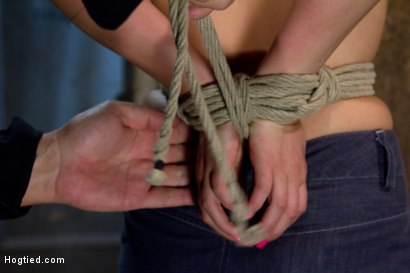 Photo number 1 from Pig tails + Thigh Highs + Cotton Panties + Ball gag + Brutal Crotch Rope = Awesome shot for Hogtied on Kink.com. Featuring Jessie Cox in hardcore BDSM & Fetish porn.