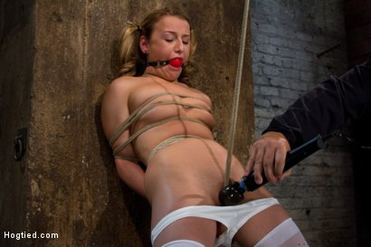 Photo number 13 from Pig tails + Thigh Highs + Cotton Panties + Ball gag + Brutal Crotch Rope = Awesome shot for Hogtied on Kink.com. Featuring Jessie Cox in hardcore BDSM & Fetish porn.