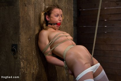 Photo number 9 from Pig tails + Thigh Highs + Cotton Panties + Ball gag + Brutal Crotch Rope = Awesome shot for Hogtied on Kink.com. Featuring Jessie Cox in hardcore BDSM & Fetish porn.