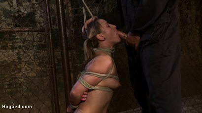 Photo number 11 from Pigtailed girl with thigh highs is bound, made to suck & swallow cock<br>Brutal BJ.  Suck it bitch. shot for Hogtied on Kink.com. Featuring Jessie Cox in hardcore BDSM & Fetish porn.