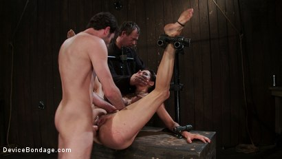 Photo number 13 from Princess Donna reduced to a common peasant <br>Countdown to Relaunch-14 of 20 shot for Device Bondage on Kink.com. Featuring James Deen, Princess Donna Dolore and Isis Love in hardcore BDSM & Fetish porn.