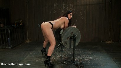 Photo number 15 from Princess Donna reduced to a common peasant <br>Countdown to Relaunch-14 of 20 shot for Device Bondage on Kink.com. Featuring James Deen, Princess Donna Dolore and Isis Love in hardcore BDSM & Fetish porn.