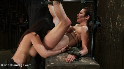 Photo number 5 from Princess Donna reduced to a common peasant <br>Countdown to Relaunch-14 of 20 shot for Device Bondage on Kink.com. Featuring James Deen, Princess Donna Dolore and Isis Love in hardcore BDSM & Fetish porn.