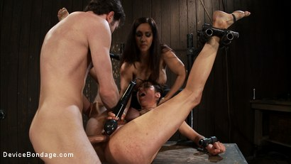 Photo number 10 from Princess Donna reduced to a common peasant <br>Countdown to Relaunch-14 of 20 shot for Device Bondage on Kink.com. Featuring James Deen, Princess Donna Dolore and Isis Love in hardcore BDSM & Fetish porn.