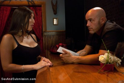 Photo number 2 from Thieving Waitress shot for Sex And Submission on Kink.com. Featuring Derrick Pierce and Alexis Breeze in hardcore BDSM & Fetish porn.