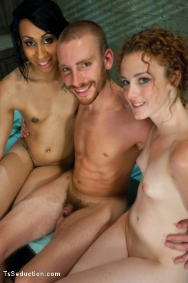 Photo number 15 from When world's collide <br> The Porn Audtion Threesome shot for TS Seduction on Kink.com. Featuring Sebastian Keys, Honey FoXXX and Michelle in hardcore BDSM & Fetish porn.