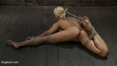 Photo number 3 from Former Romanian Gymnast puts her flexibility to the test as she is<br> brutally bound on the floor. shot for Hogtied on Kink.com. Featuring Lea Lexis in hardcore BDSM & Fetish porn.